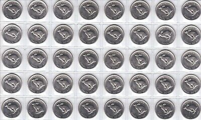 Canada 1967 Centennial Five Cent UNC CHOICE BU MS Nickel Roll of 40 Coins!!