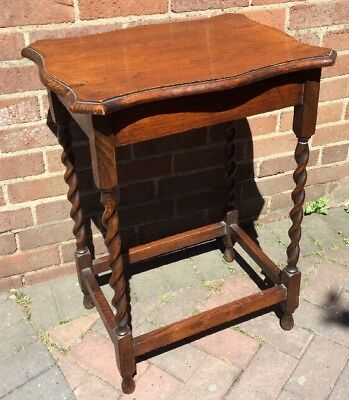"""Antique Quality Made Solid Wood Barley Twist Table / Side Table - 28"""" Tall"""