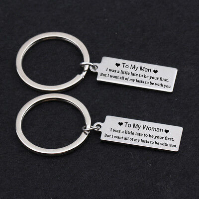 To My Man&Woman Key Ring Couple Stamped Keychain Gift For Her Him Valentines Day