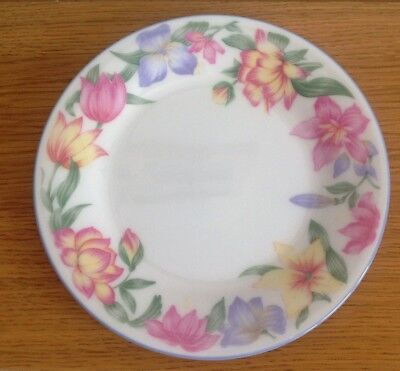 "EXPRESSIONS Blooms SIDE PLATE ROYAL DOULTON  Floral Pinks Blue China 6.5"" 16.5cm"