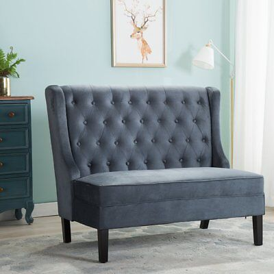 Modern Loveseat Settee Couch Banquette Button Tufted Fabric Sofa Bench Seat Gray