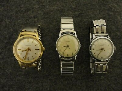 Lote 3 Caravelle,Viajero,Timex Hombre Vintage Mecánico Watches-Serviced & Clean