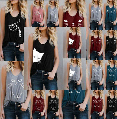 Women Cat Print Summer Vest TopS Sleeveless Shirt Blouse Casual Tank Top T-Shirt