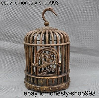 """10"""" Antique old Chinese Bronze Dynasty Palace Bird statue birdcage Bird Cage"""