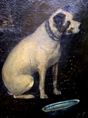 RARE ANTIQUE OIL ON CANVAS PAINTING OF A TERRIER DOG WITH BLUE DELFT BOWL c1822