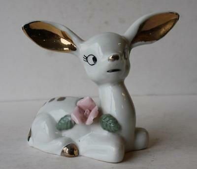 Deer Fawn Figurine w-Gold Trim 3-D Flower Lying Down Ceramic-Porcelain-Vintage