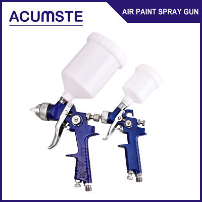 2PCS HVLP 1.0mm 1.4mm Auto Air Spray Nozzle Gun Kit Gravity Feed Paint 30-80PSI