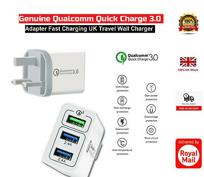 Genuine Qualcomm Quick 3 Port Fast Adapter Charge QC 3.0 USB Uk Plug,Buit-in LED