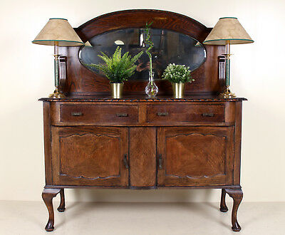 Antique Oak Carved Sideboard Mirrored Credenza Buffet Arts Crafts