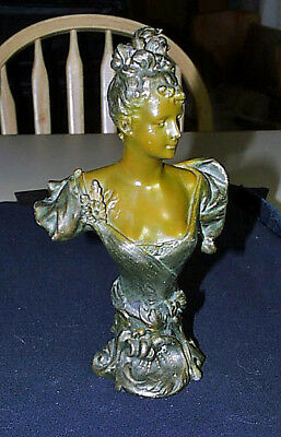 Antique c1880 French Art Nouveau Bronze Beautiful Lady Pedestal Bust