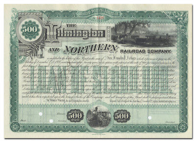 Wilmington and Northern Railroad Company Bond Certificate