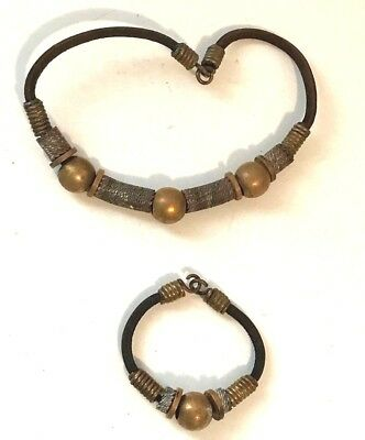 Vintage Hand Crafted Solid Brass Ball Bead Necklace Bracelet Set ~ Steampunk