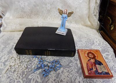 Estate Lot Of Vintage Religious Items~Bible, Guardian Angel, Rosaries, Plaque