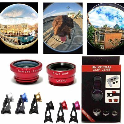 For iPhone 4 5 5s 6 7 8 Fish Eye + Macro Lens + Wide Angle Kit Small Camera Lens