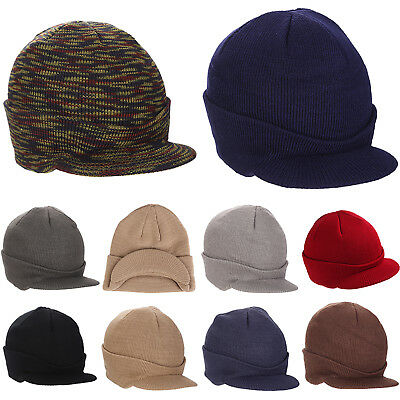 0538ac22c3cdf4 Plain Visor Cuff Beanie Knit Cap Hat Ski Thick Brim Warm Winter Hats Men  Unisex