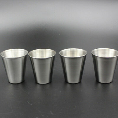 4PCS 70ml Beer Wine Stainless Steel Cup Outdoor Camping Cup Set Cover Case Set