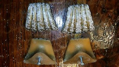 4 antique vintage drawer pulls handles, clam shell design, art deco