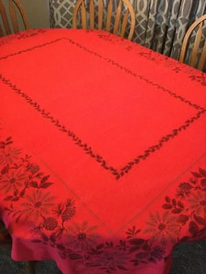 "MCM Christmas Tablecloth 56"" x 80"" Red Gold Poinsettias"