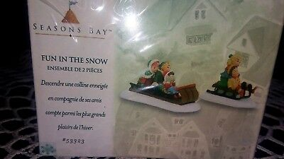 "Dept 56 Seasons Bay ""Fun in the Snow"" Set of 2 Accessory,New/Sealed"