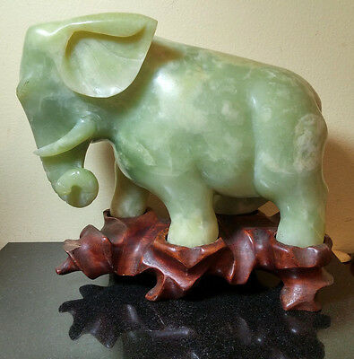 Vintage Oriental Carved Green Soapstone Elephant W/ Natural Wooden Base