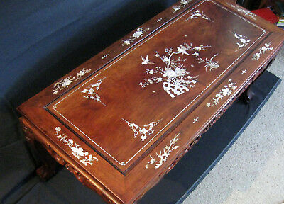 Vintage Chinese Mother of Pearl inlay coffee table, inlaid MoP Rosewood