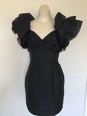 "Women's Vintage 80s Black Spot Puff Dress ""Masquerade"" 6"