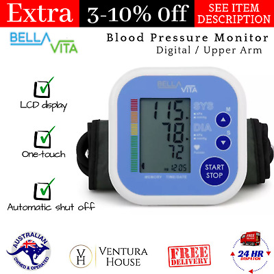 Bella Vita Digital Upper Arm Blood Pressure Monitor Portable and Lightweight NEW