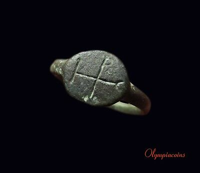 ** EXCELLENT ** Ancient Byzantine Bronze ring ** MONOGRAM OF CHRIST ** UNIQUE