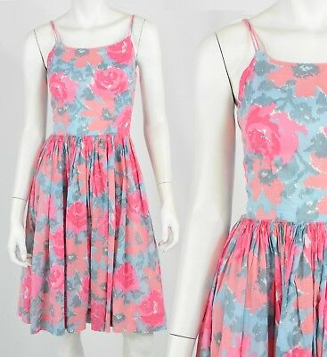 d4aa2152ec8 50s Vintage Pink Rose Print Spaghetti Strap Dress XS Sundress Tea Dress  Crinolin