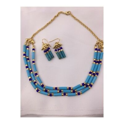 Authentic Egyptian Gold Finish Lotus Blue Turquoise Triple Necklace and Earrings