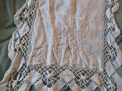 Italian antique lace runner  40 x 14 inches