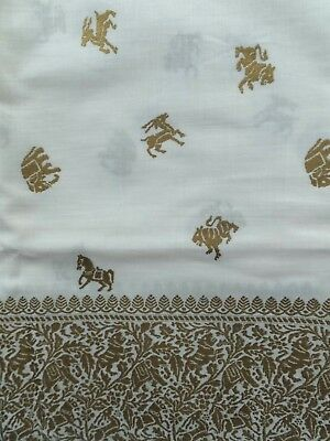 Vintage Gold White Elephant Horse Tiger Ram Jungle Sari Border Cotton Fabric