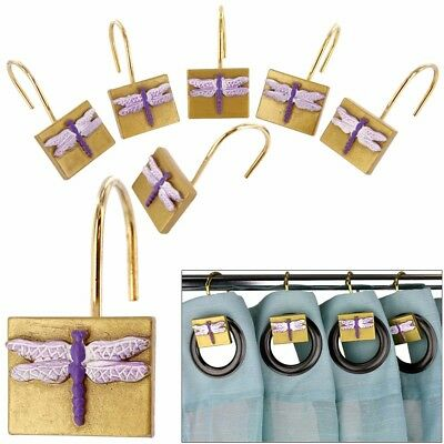 NEW in Box - Set of 12 Dragonfly Shower Curtain Rings Hooks Drape Dragon Fly