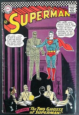 Superman #186 DC Comics May 1966 12 cent cover! Silver Age! VG- 3.5! 20% OFF!