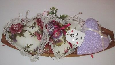 Primitive Valentine's Day Set Of 3 Floral Maroon/purple Heart Bowl Fillers