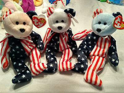 Beanie Babies Ty Spangle Set Pink White & Blue retired Stars and Stripes July 4