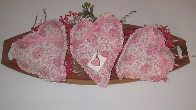 Primitive Valentine's Day Set Of 3  Small  Floral Heart Bowl Fillers   #1