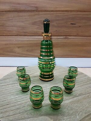 Vintage Retro green Decanter 7 Glass Set with Gold strip Decoration