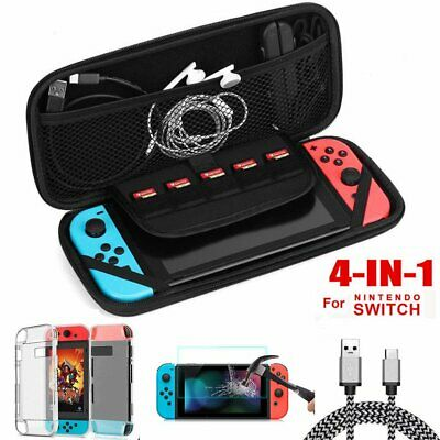 4in1 Hard EVA Carry Case Bag+Shell Cover+Charging Cable+Film for Nintendo Switch