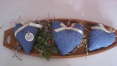Primitive Valentine's Day Set Of 3 Blue  Heart Bowl Fillers   #1