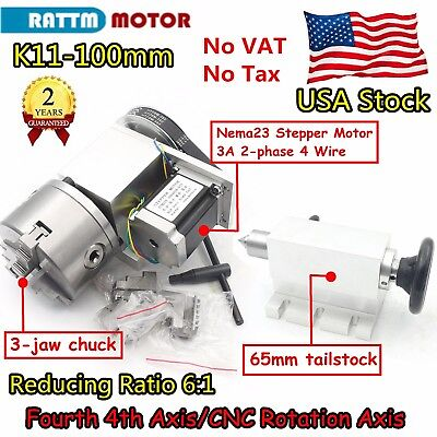 【US】 100mm Rotational 4th Axis 3 jaw Dividing Head Milling Machine Rotary Table
