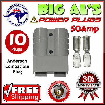 10 X 50Amp DC Power Plug Connector Anderson Style 12v 24v Fridge Charger Battery