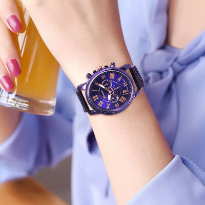 New Fashion Women Geneva Roman Watch Leisure Mesh Band Analog Quartz Wrist Watch