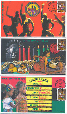 Jvc Cachets - 2018 Kwanzaa First Day Cover Fdc Holiday Issue Set Of 3