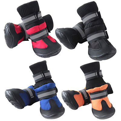 4pcs Pet Dog Winter Rain Boots Shoes Puppy Warm Anti-Slip Waterproof Booties UK