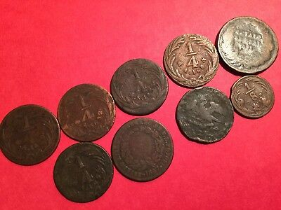 9 coin lot Mexico Copper 1/8 and 1/4, 1830 -1867--lot231