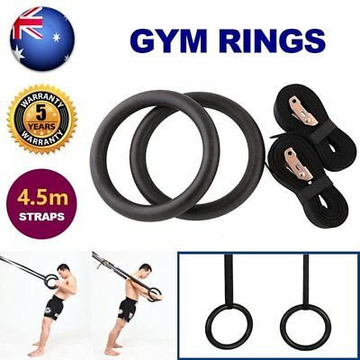 Gymnastic Gym Rings Hoop Crossfit Exercise Fitness Home Workout Dip Pair Bars CE