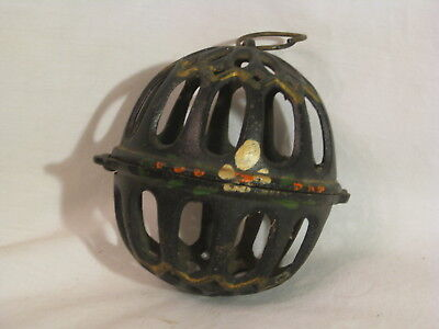 vintage cast iron ornament ball holder small round painted 2 part cage