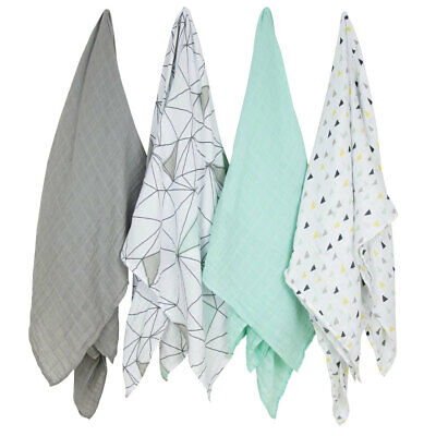 The Little Linen Company - Weegoamigo Baby Muslin Swaddle - 4 Pack - Six Degrees