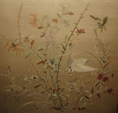 Chinese Silk Embroidery of Crane Butterfly & Flowers
